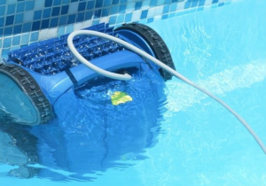 robotic pool cleaner under water