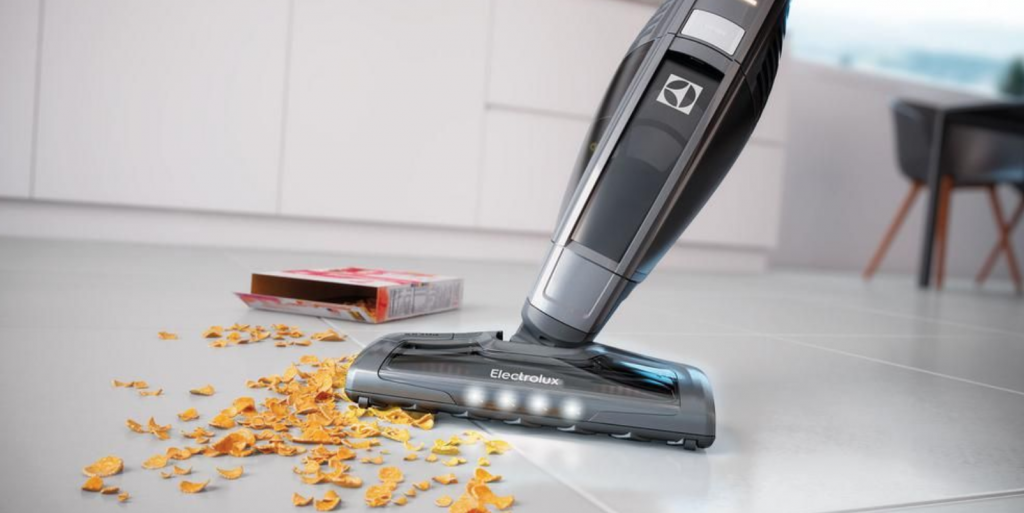corded stick vacuum in operation